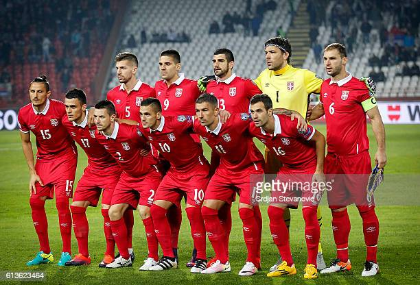 National team of Serbia pose for the photo prior the FIFA 2018 World Cup Qualifier between Serbia and Austria at stadium Rajko Mitic on October 9...