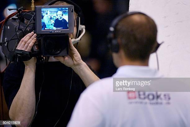 National tema coach Jan Pytlick Denmark speaking to reporter Flemming Toft TV2 Sporten