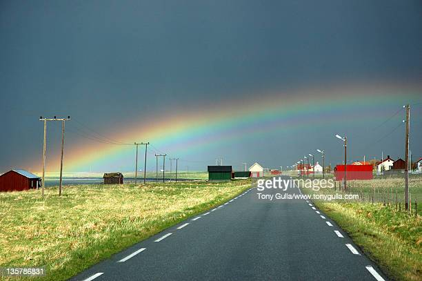 National tourist routes in Norway under rainbow