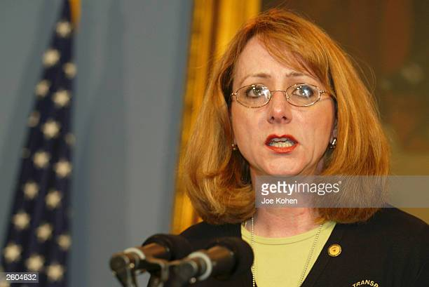 National Transportation Safety Board Chairwoman Ellen Englemen speaks at a media conference at City Hall October 16 2003 in New York City New York...