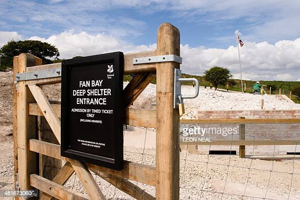 A National Trust sign at the site of the Fan Bay Deep Shelter within the cliffs overlooking Dover England on 23 July 2015 Rediscovered in 2012 the...