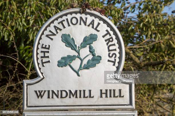 National Trust sign Windmill Hill a Neolithic causewayed enclosure near Avebury Wiltshire England UK