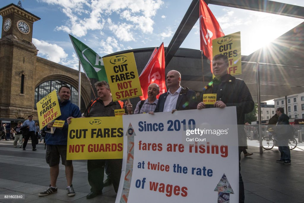 National Union of Rail, Maritime and Transport Workers (RMT) members take part in a protest against rail fare increases on August 15, 2017 at King's Cross Station in London, England. Protests have been planned at numerous stations throughout the U.K today as a fare increase of 3.6% in January 2018 was announced.
