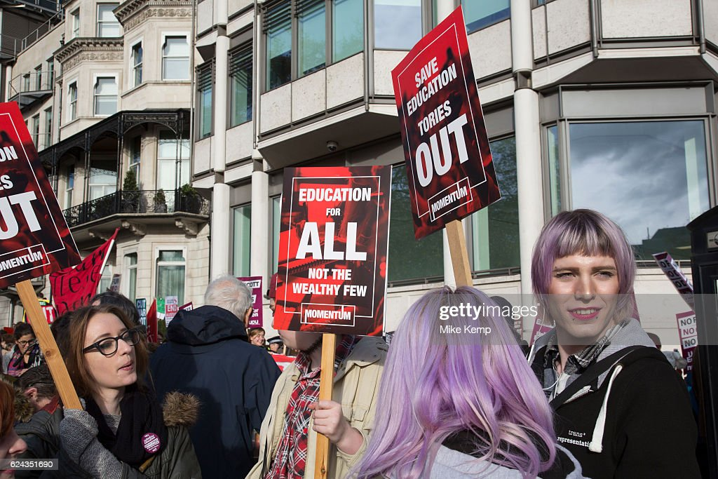 National Union of Students (NUS) and the University and College Union (UCU) demonstration United For Education calling for free, accessible and quality further and higher education across the UK, and to demand an end to the marketisation of university and college education on 19th November 2016 in London, United Kingdom.