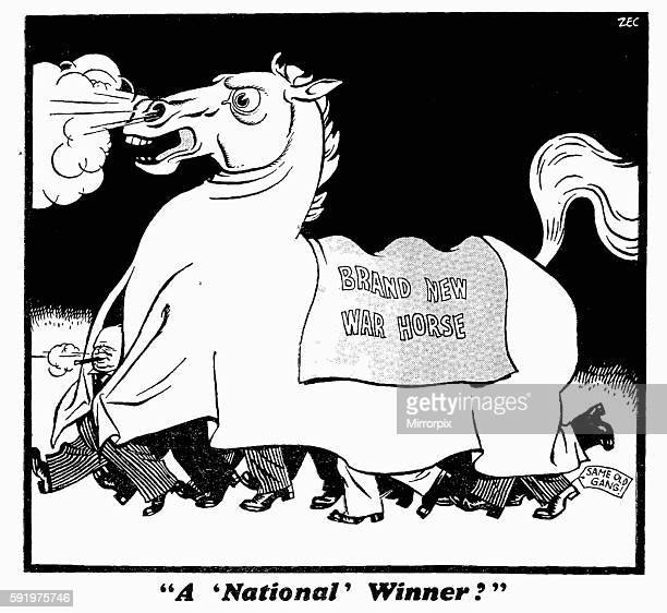 "National' Winner?"" 5th April 1940 Brand New War Horse Same Old Gang Cartoon drawn in response to Neville Chamberlain's reshuffle of his war cabinet..."