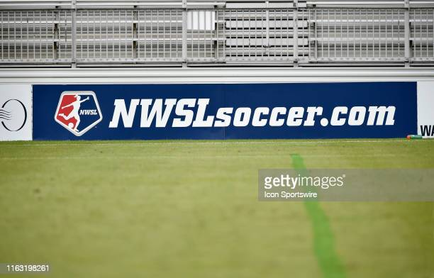 National Womens Soccer League logo on advertising boards with a natural turf grass field during the game between the Utah Royals and Washington...