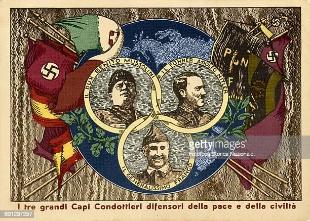 Nationalism Fascism Nazism Mussolini Hitler Franco Propaganda postcard Italy Rome 1937