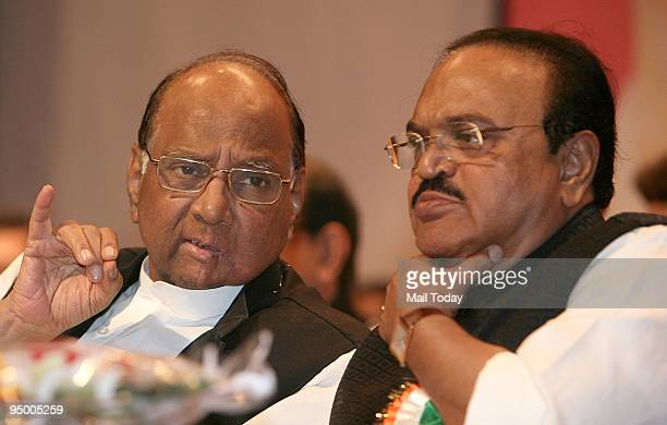 Nationalist Congress Party President Sharad Pawar with Chagan Bhujbal during the party's National Convention in New Delhi on Sunday December 21 2009