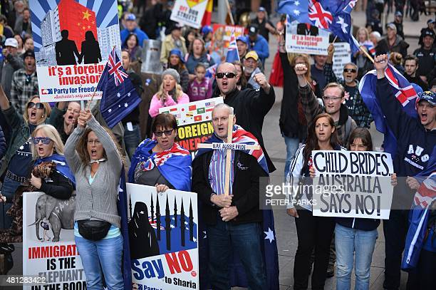 Nationalist demonstrators protest at a Reclaim Australia rally against Islamic extremism in Sydney on July 19 2015 Reclaim Australia held rallies...