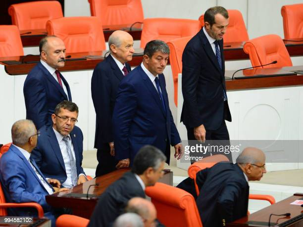 Nationalist Movement Party leader Devlet Bahceli attends Turkey's President Recep Tayyip Erdogan's oath taking ceremony at the Turkish parliament on...