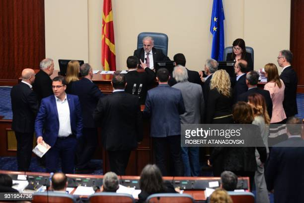 Nationalist politician and member of opposition party VMRO-DPMNE, Nikola Gruevski argues with Parliament speaker Talat Xhaferi during a parliament...