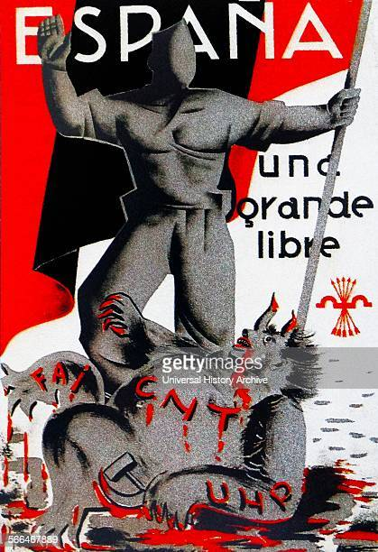 Nationalist Poster Shows a fascist soldier crushing Socialist and Anarchist forces during the Spanish Civil War
