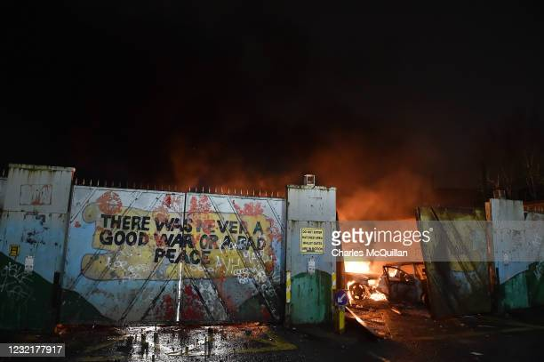 Nationalists and Loyalists riot against one another at the Peace Wall interface gates which divide the two communities on April 7, 2021 in Belfast,...
