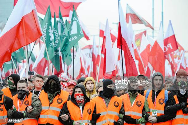 Nationalists are seen ahead of the Independence Day March in Warsaw, Poland on November 11, 2019.