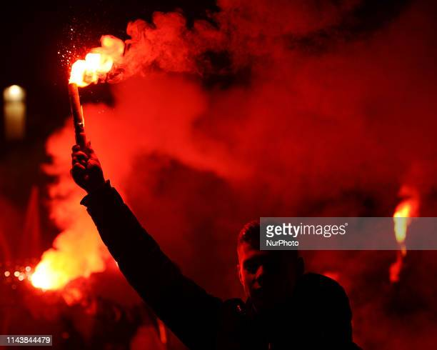 Nationalists are seen lighting flares during the Independence Day March on November 11, 2019 in Warsaw, Poland.
