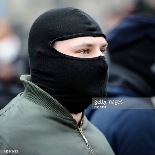Nationalists are seen with balaclava's during the Independence Day March on November 11, 2019 in Warsaw, Poland.