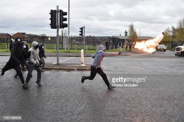 Nationalists attack Police on Springfield Road just up from Peace Wall interface gates which divide the nationalist and loyalist communities on April...