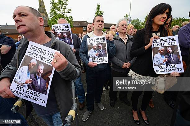 Nationalists gather on the Falls Road in support of Gerry Adams on May 3 2014 in Belfast Northern Ireland The Sinn Fein leader has spent a third...