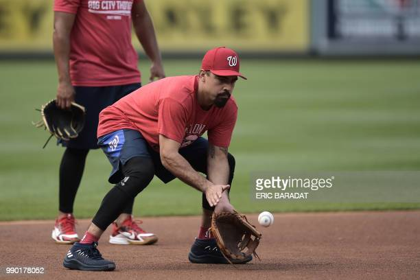 Nationals 3rd baseman Anthony Rendon is seen during a practice of Washington Nationals baseball players before a game at the Nationals Park on May 21...