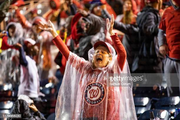 Nationals fans react to the home run that gave the Washington Nationals the lead in Game 7 of the World Series at an official watch party at...