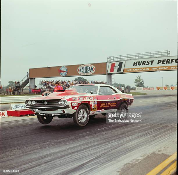 Nationals Indianapolis Billy The Kid Stepp 1971 Dodge Challenger picks up it wheels during a Pro Stock run