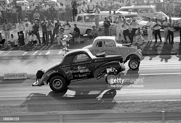 Nationals Indianapolis Classic Gasser matchup of 1933 Willys versus 1941 Willys StoneWoodsCook's Swindler A leave the line with wheels up while Jack...