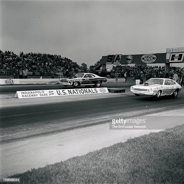 Nationals Indianapolis Raceway Park GliddenAllen Ford Pinto near lane versus the Billy The Kid Dodge Dart in Pro Stock Class Race