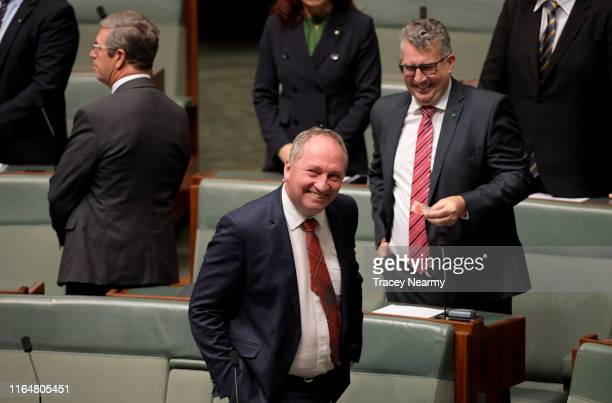 Nationals MP Barnaby Joyce arrives in the House of Representatives at Parliament House on July 29, 2019 in Canberra, Australia. Both chambers sit...