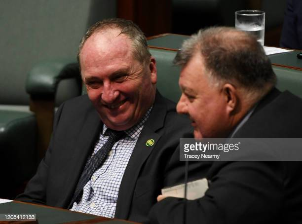 Nationals MP Barnaby Joyce during a division in the House of Representatives at Parliament House on February 11, 2020 in Canberra, Australia. The...