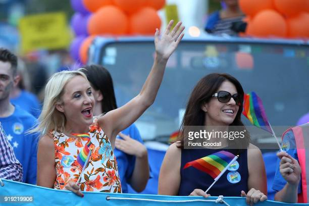 National's Nikki Kay joins the parade on February 17 2018 in Auckland New Zealand The Auckland Pride Parade is part of the annual Pride Festival...