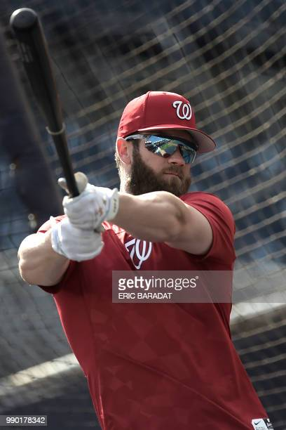 Nationals outfielder Bryce Harper is seen during a practice of Washington Nationals baseball players before a game at the Nationals Park on May 21...