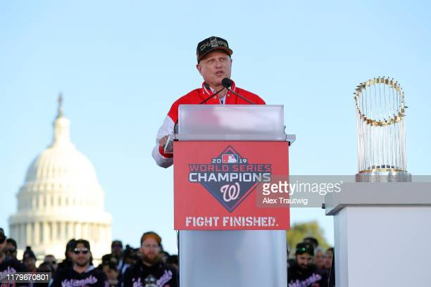 Nationals owner Mark Lerner speaks during the 2019 World Series victory parade on Saturday November 2 2019 in Washington DC