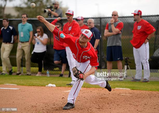 Nationals pitcher Austin Voth warms up during the Washington Nationals pitchers and catchers start of their third day of spring training at Space...