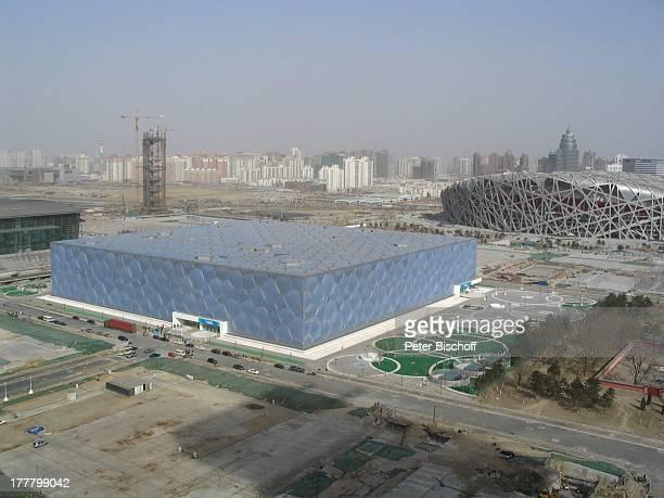 Nationalstadion Spitzname Vogelnest Nationales Schwimmzentrum Water Cube Peking China Asien Stadion Olympiastadion Schwimmhalle Gebäude Aussen Reise E