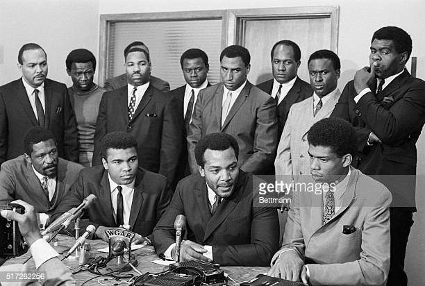 Nation's top Negro athletes gathered for a meeting at the Negro Industrial and Economic Union to hear Cassius Clay's view for rejecting Army...