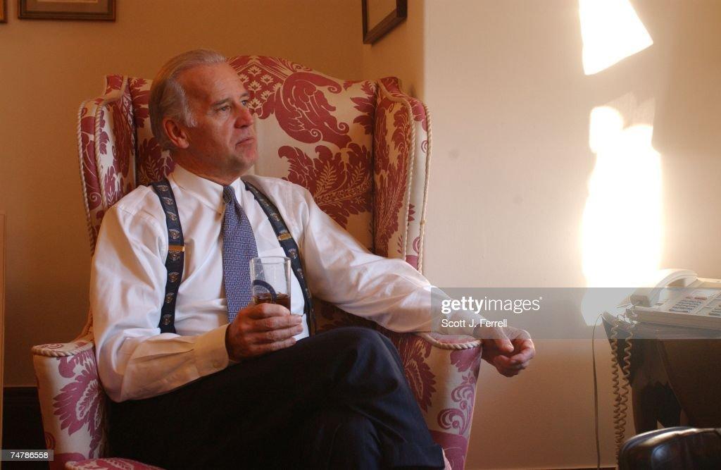 Biden Reaction To Powell Presentation On Iraq At United Nati : News Photo