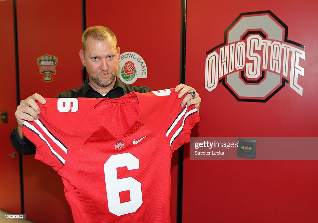 Nationwide Series Champion crew chief Mike Kelley poses for a picture with a jersey at Ohio State University during the NASCAR Nationwide Series Champion's Day on December 12, 2012 in Columbus, Ohio