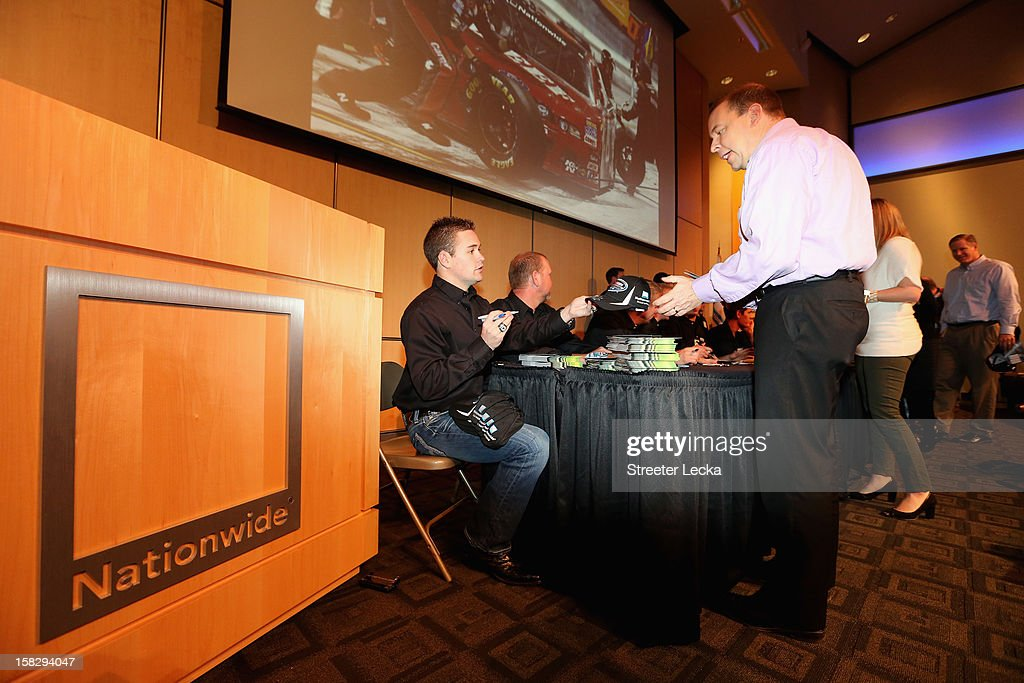 Nationwide Series Champion Ricky Stenhouse Jr. signs autographs at the Nationwide World Headquarters during the NASCAR Nationwide Series Champion's Day on December 12, 2012 in Columbus, Ohio