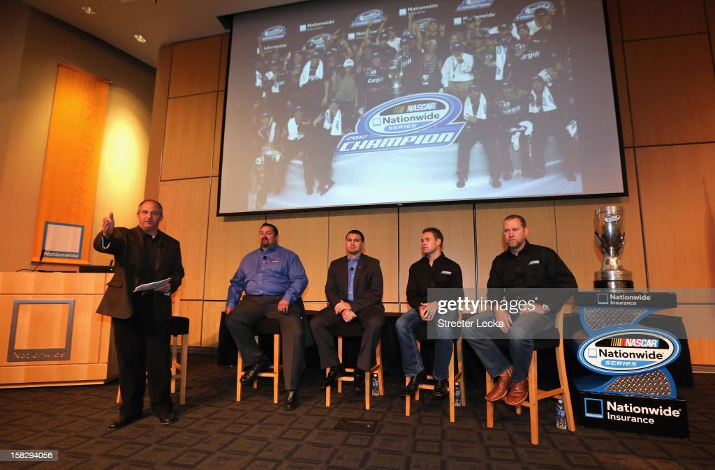 Nationwide Series Champion Ricky Stenhouse Jr. sits alongside his crew chief Mike Kelley to answer questions at the Nationwide World Headquarters during the NASCAR Nationwide Series Champion's Day on December 12, 2012 in Columbus, Ohio