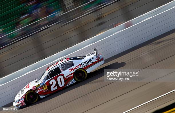 Nationwide Series drive Joey Logano circled the track during his victory in the Kansas Lottery 300 on Saturday October 2 2010 at Kansas Speedway in...