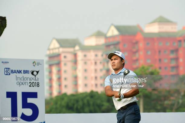 Natipong Srithong of Thailand pictured during the first round of the Bank BRI Indonesia Open at Pondok Indah Golf Course on July 12 2018 in Jakarta...