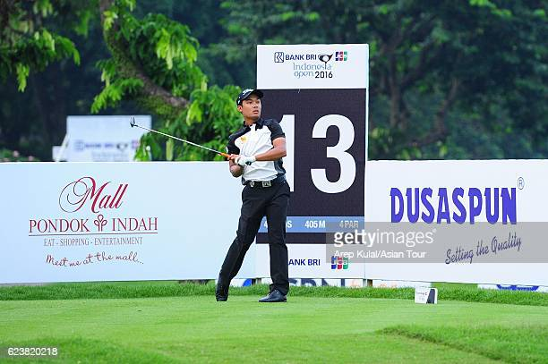 Natipong Srithong of Thailand plays a shot during round one of the BANK BRIJCB Indonesia Open at Pondok Indah Golf Course on November 17 2016 in...