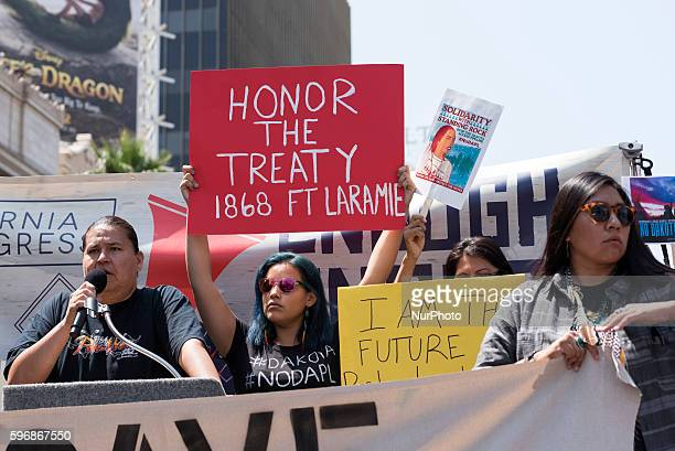 Native American activists during the Enough is Enough protest in Los Angeles California August 27 2016 People gathered to protest a variety of issues...