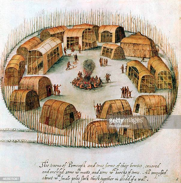 Native American Algonquin Indian village 1585 Sketch from observations made by the English expedition under John White in 1585 of Pomeiock Gibbs...