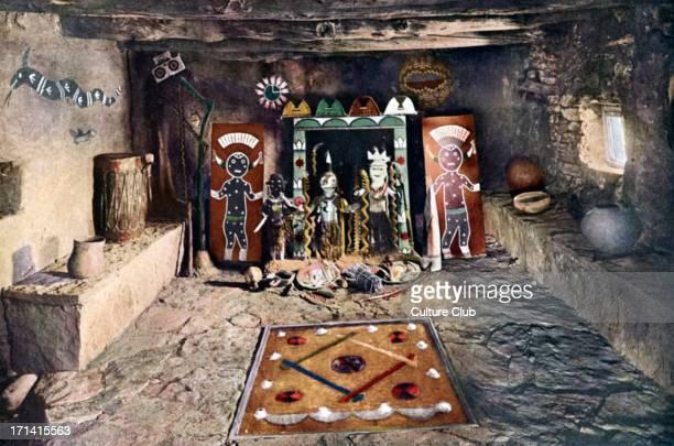 Native American altar room of the Powamu society in a Hopi house Grand Canyon Arizona Idols from left to right Pookong god of thunder god of...