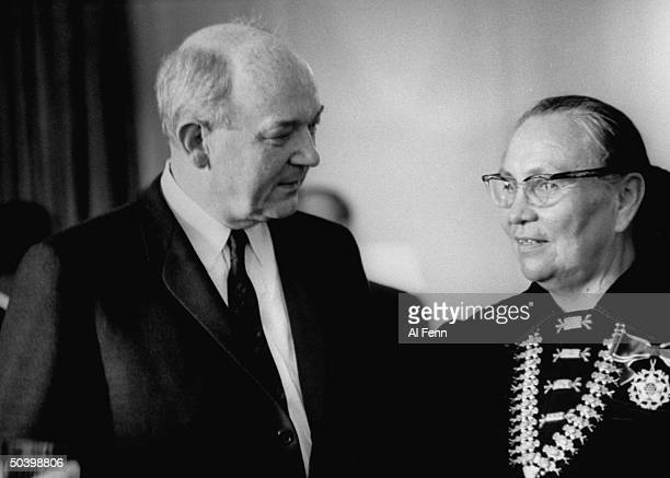 Native American Annie Dodge Wauneka receives the Presidential Medal of Freedom from United States Secretary of State Dean Rusk Washington DC 1963