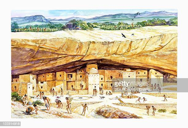 Native American civilizations Anasazi culture Reconstructed Cliff Palace Mesa Verde Colorado Color illustration