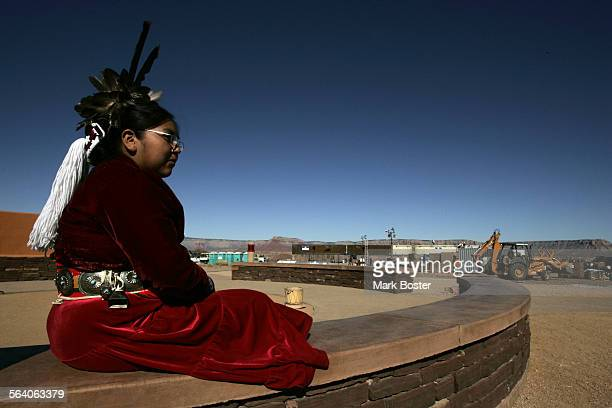 –Native American dancer Shanelle Lomakema waits for tourists to arrive at the Grand Canyon West native American village where the Hualapai Tribe in...