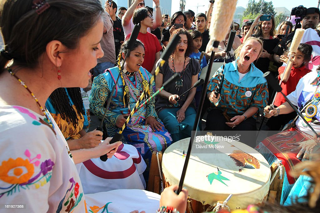 Native American drummers with the Morning Star Foundation demonstrate at the steps of City Hall during the 'Forward on Climate' rally to call on President Obama to take strong action on the climate crisis on February 17, 2013 in Los Angeles, California. Organizers say the rally, which is led by Tar Sands Action Southern California and Sierra Club, is composed of a coalition of over 90 groups and coincides with similar rallies in Washington D.C. and other U.S. cities.