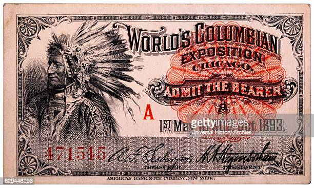 Native American Engraving Ticket to World's Columbian Exposition Chicago Illinois 1893